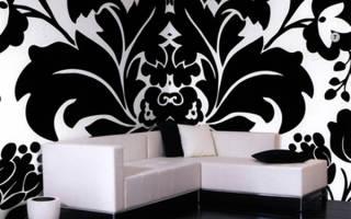 Белые обои с черными узорами для стен