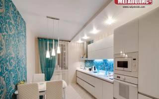 Натяжные потолки кухня фото как расположить светильники