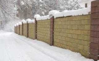 Забор из керамзитобетонных блоков фото