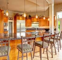 Кухни студии с барной стойкой