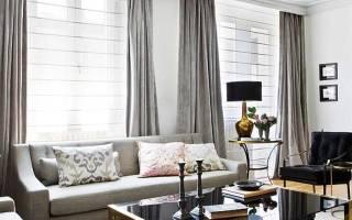Серые шторы в интерьере фото
