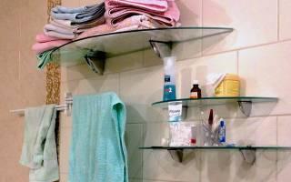 Полка в ванную комнату стеклянная