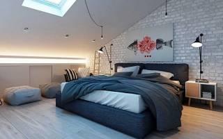 Мансарда дизайн фото спальня комбинированная отделка