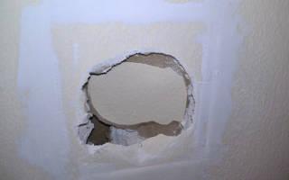 Как заделать дырку в гипсокартоне на стене?