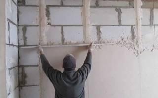 Штукатурка стен из пенобетона внутри помещения