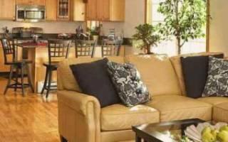 Дизайн кухни и гостиной в частном доме