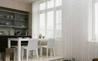 Шторы кисея в интерьере кухни фото