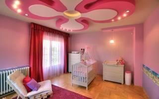 Потолок из гипсокартона в детской комнате фото